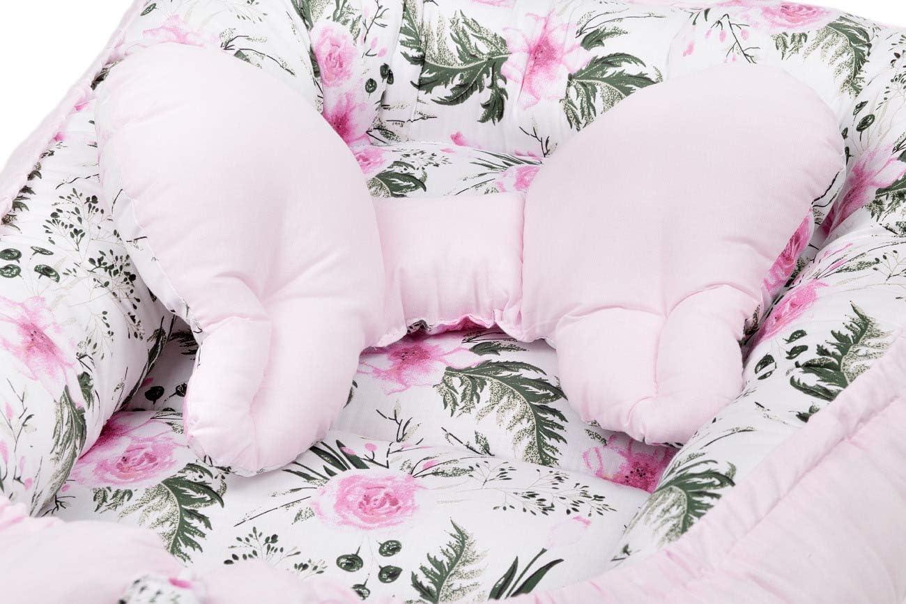 Kopfkissen Schmetterling zweiseitig Tulli Babynest Babynestchen Kuschelnest f/ür Babys S/äuglinge 90 x 64 cm Reisebett Kokon inkl