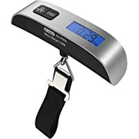 [Backlight LCD Display Luggage Scale]Dr.meter 110lb/50kg Electronic Balance Digital Postal Luggage Hanging Scale with Rubber Paint Handle,Temperature Sensor, Silver/Black, 1 Pack (PS02 Luggage Scale)