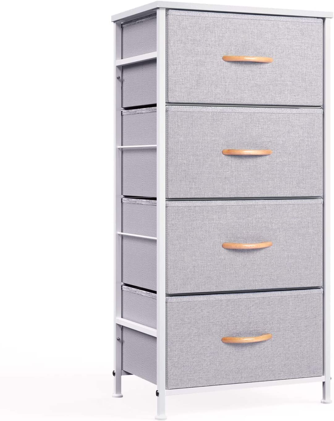 WeHome 4 Drawer Fabric Dresser Storage Tower, Organizer Unit for Bedroom, Closet, Entryway, Hallway, Nursery Room - Gray