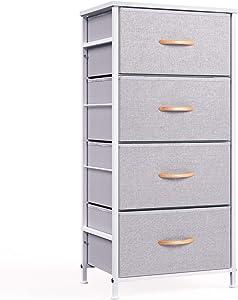 WeHome 4 Drawer Fabric Dresser Storage Tower, Organizer Unit for Bedroom, Closet, Entryway, Hallway, Nursery Room - Gray