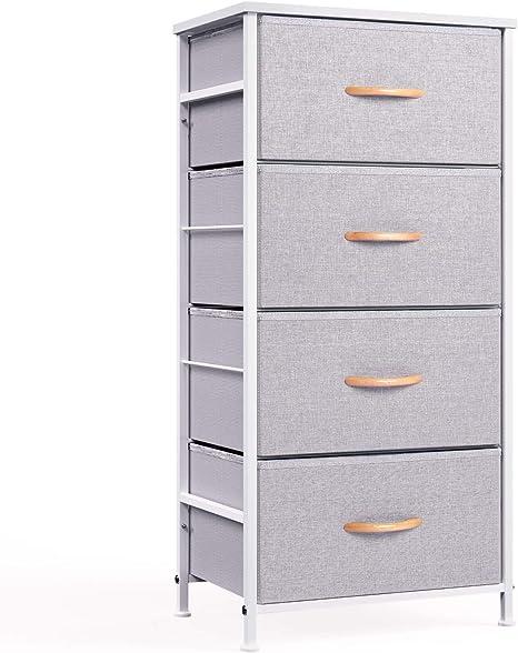 Amazon.com: ROMOON 4 Drawer Fabric Dresser Storage Tower, Organizer Unit For Bedroom, Closet, Entryway, Hallway, Nursery Room - Gray: Home & Kitchen