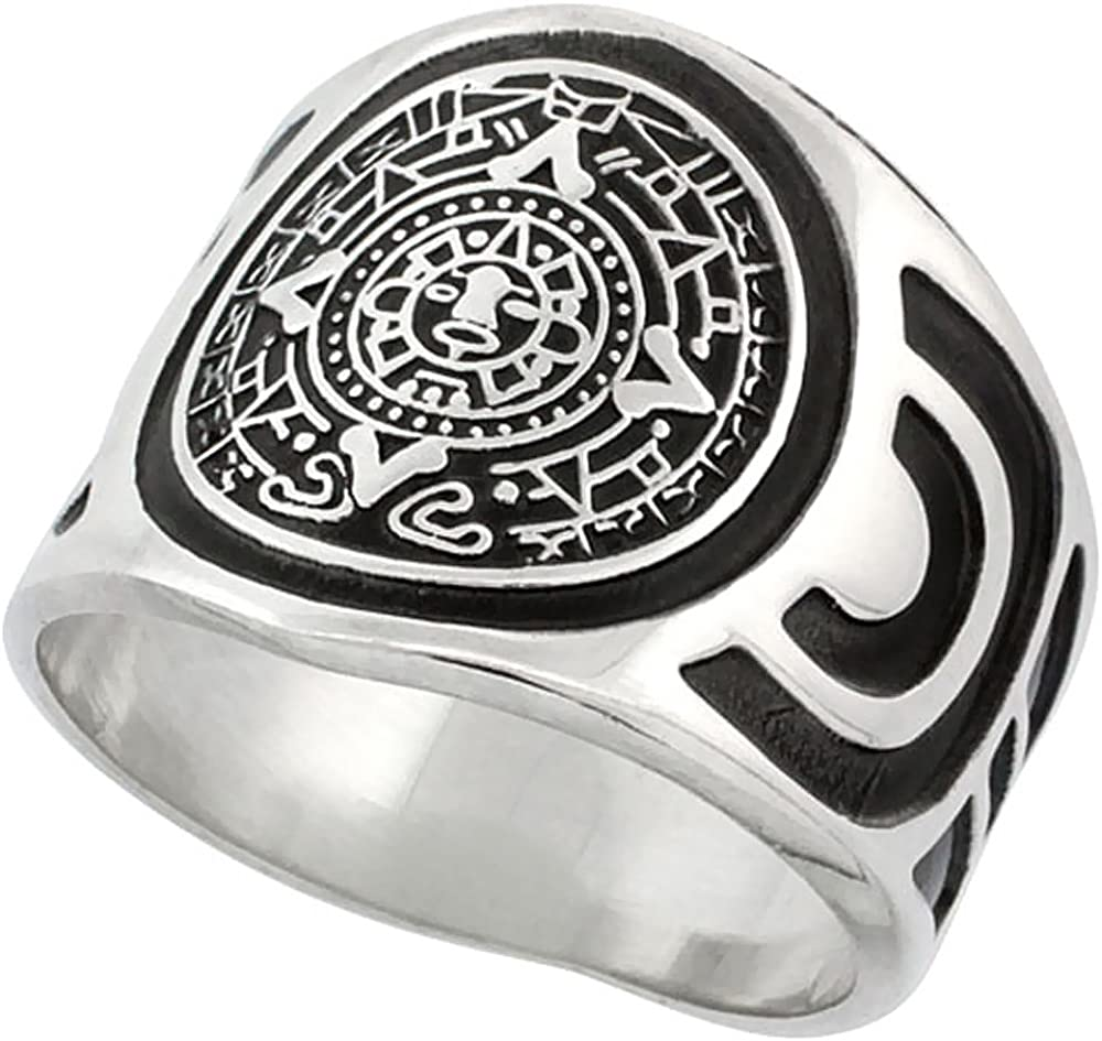 Sizes 8-13 Sterling Silver Aztec Calendar Mayan Sun Ring for Men Aztec Design Sides 18mm Wide