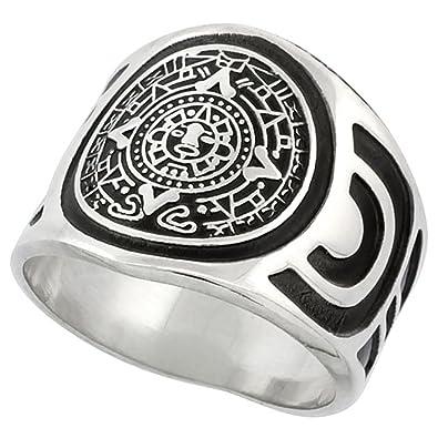 Sterling Silver Aztec Calendar Mayan Sun Ring For Men Aztec Design