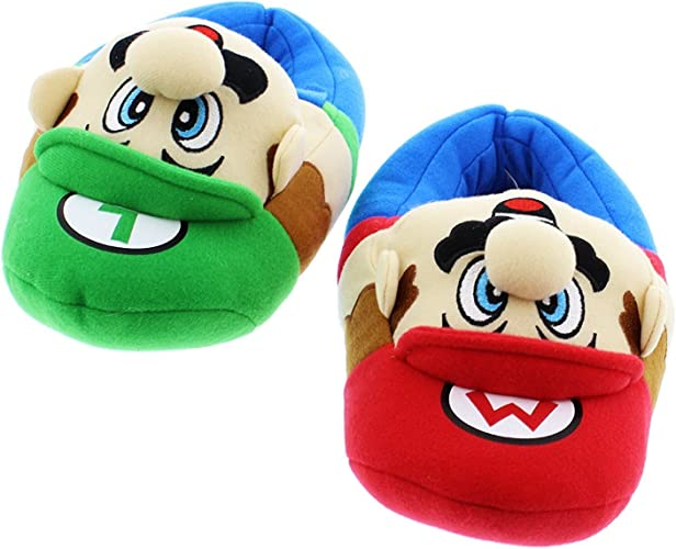 Super Mario Brothers Boys Plush Slippers 2-3 Little Kid Luigi Blue