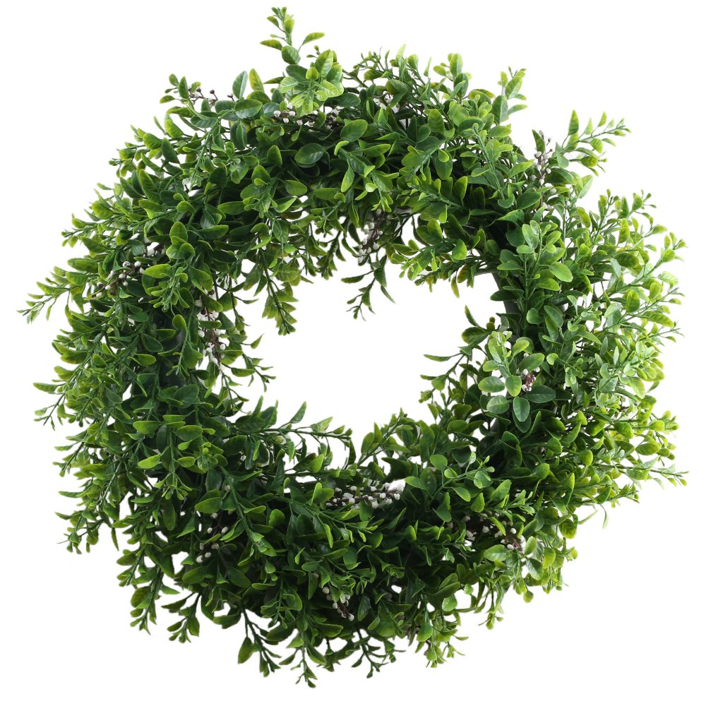 NAHUAA Front Door Wreath, 15 inches Artificial Eucalyptus Wreath Spring Farmhouse Garland Home Office Housewarming Gift Greenery Decor