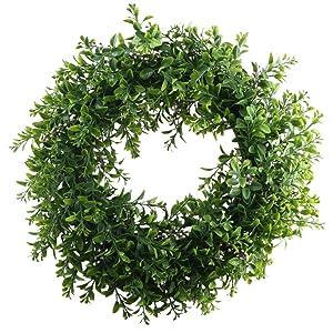 NAHUAA Front Door Wreath, 15 inches Artificial Eucalyptus Wreath Spring Farmhouse Garland Home Office Housewarming Gift Greenery Decor