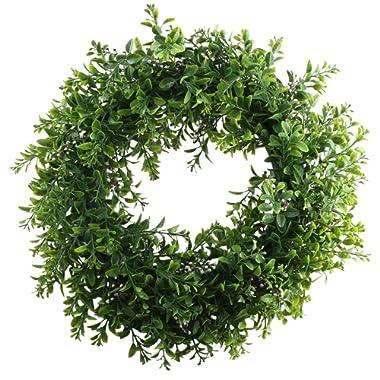 Nahuaa Front Door Wreath, 15  Artificial Eucalyptus Wreath Spring Farmhouse Garland Home Office Housewarming Gift Greenery Decor