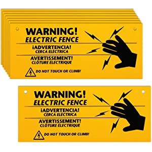 8 Pieces Electric Fence Warning Signs 10 x 4 Inch Plastic Electric Fence Safe Signs Caution Warning Sign for Danger Electric Fence Sign Farm Home