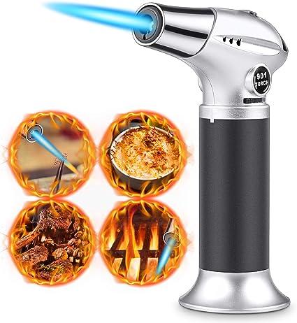 Antorcha de Cocina, RenFox Soplete de Cocina Profesional Antorcha Butano Encendedor Culinario Mini Soplete de Gas Recargable con Cerradura de ...