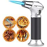 RenFox Antorcha de Cocina Soplete Gourmet Profesional, Cerradura de Seguridad & Llama Ajustable Antorcha para Creme Brulee, DIY, Comida, Barbacoa, Cámping, BBQ(No Incluye Butano)
