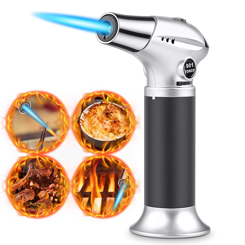 RenFox Antorcha de Cocina Soplete Gourmet Profesional, Cerradura de Seguridad & Llama Ajustable Antorcha para