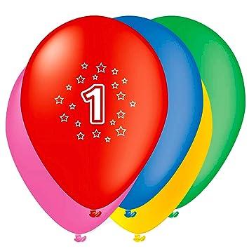 Unique Party- Globos Perlados de Látex para Cumpleaños Número 1, Paquete de 5, 30 cm (80201)