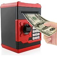 Jhua - Caja de Ahorro de Dinero electrónico con contraseña de Piggy, Caja de Seguridad ATM Banco, cerraduras seguras, Panda Smart Voice Prompt, Caja de Dinero para niños/Regalo de Navidad, Rojo