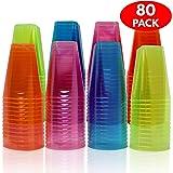 MATANA 80 Bicchieri Quadrati in plastica USA e Getta con Colori Assortiti. 207 ml. Perfetti per Feste, Picnic, Barbecue e Altri Eventi