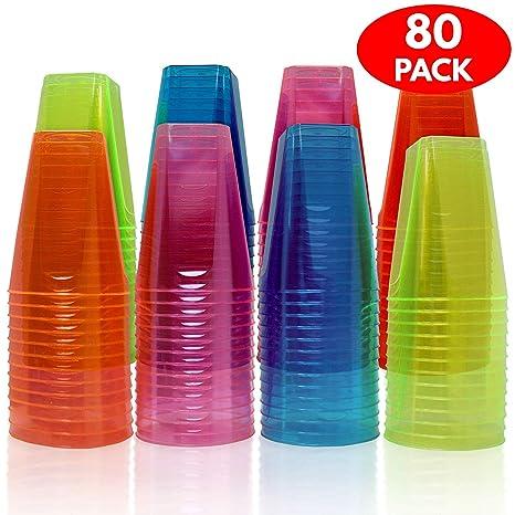 Matana 80 Vasos de Desechables, Plástico Duro - 7 oz (210 ml) - Fluorescentes Neón Colores - Accesorio de Fiesta Desechable, Reutilizable, Reciclable ...