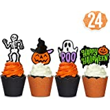 xo, Fetti Halloween Decorations Cupcake Toppers + Wrappers - set of 24 | Happy Halloween, Skeletons, Ghosts, Pumpkins…