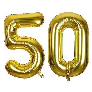 SMARCY Globos Número 50 Decoración de Cumpleaños 50 Años Fiesta de Cumpleaños (Dorado)