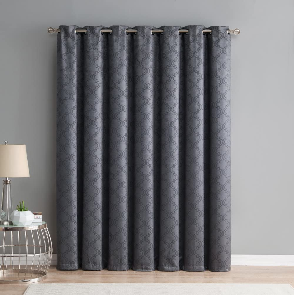 HLC.ME Redmont Lattice Extra Wide-Width Thermal Insulated Energy Efficient Room Darkening Blackout Grommet Patio Door Curtain Panel for Sliding Doors (100 x 84 inches Long, Dark Grey)