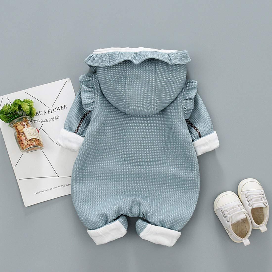 DorkasDE Baby Strampler Neugeborene Kleinkinder Strampleranzug Overall Cartoon Jumpsuit Babykleidung mit Abnehmbar Kapuze