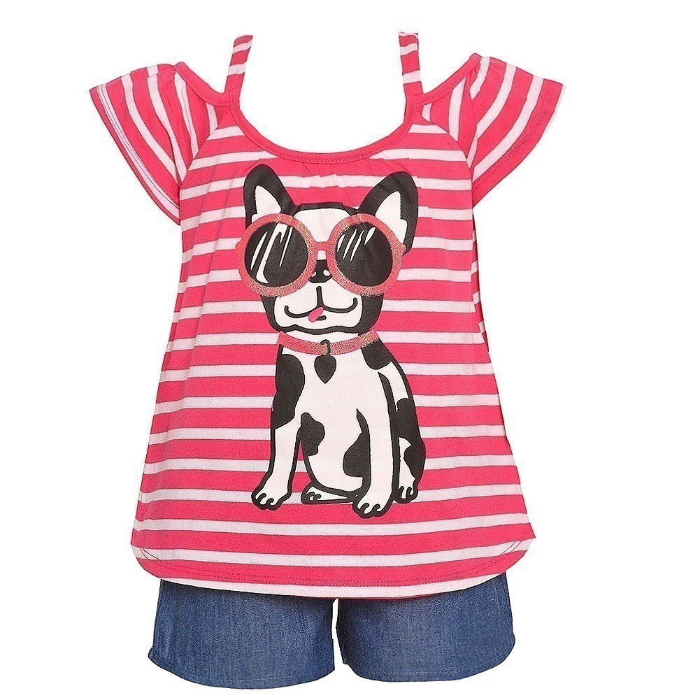 RMLA Little Girls Coral Stripe Dog Sunglasses Print Top 2 Pc Shorts Outfit 4T