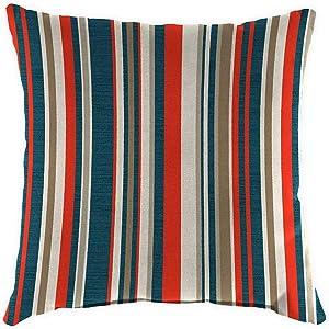 Plow & Hearth Polyester Classic Throw Pillow - 22 sq. x 8 Cambridge Stripe