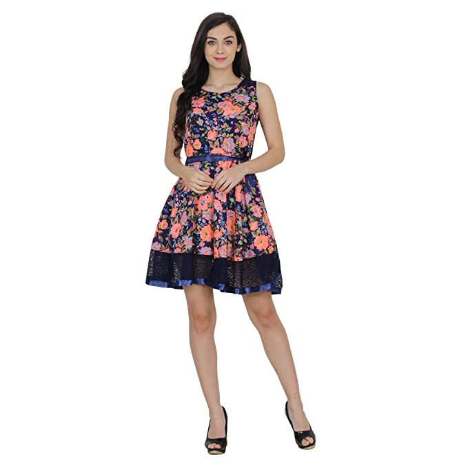 ff56775a4450 My Swag Women s Floral Print Knee Length Skater Dress  Amazon.in ...