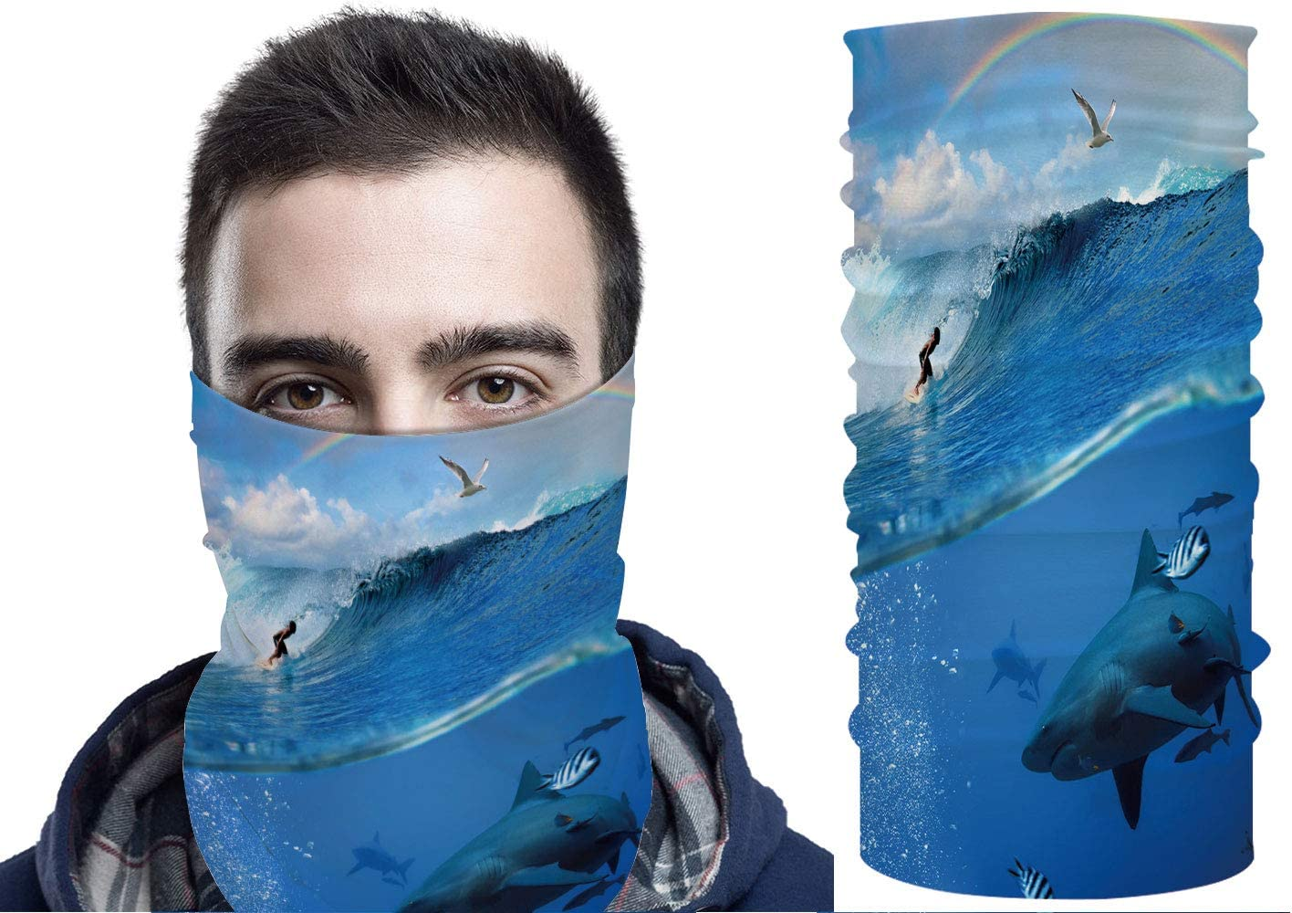 YOLIYANA Unisex Seamless Neck Gaiter Tube Scarf Headwear, Sunset Over Water Motorcycle Face Scarf for Women Men Face Scarf 19.6x9.8in №007069
