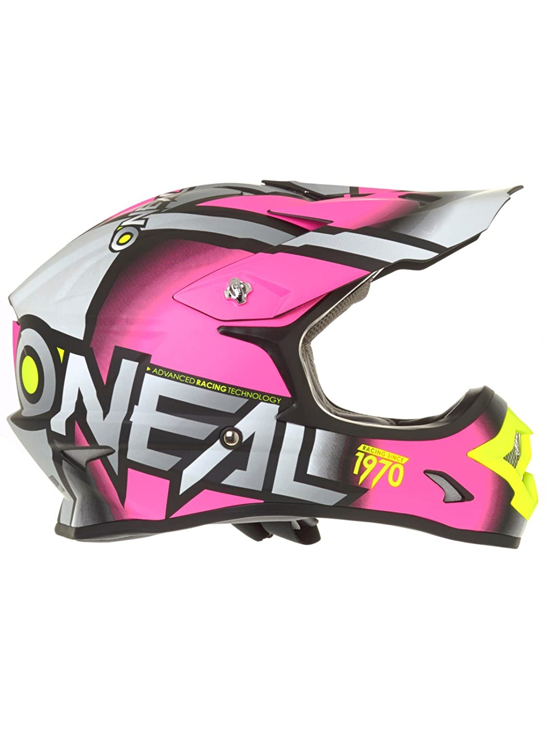 Amazon.com: ONeal 3 Series Womens Radium Helmet (Gray/Pink/Hi-Viz, X-Small): Automotive