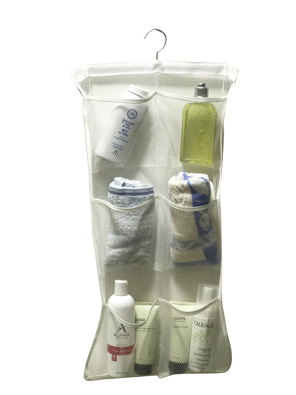 ACECLE Quick Dry Bath Shower Caddies Organizer 6 Pockets 1 Rotatable Hanger Hanging on Shower Curtain Rod Hooks Arm Support Doorknob Bathroom Wardrobe Gym Camping Save Space (3 Colors Available)