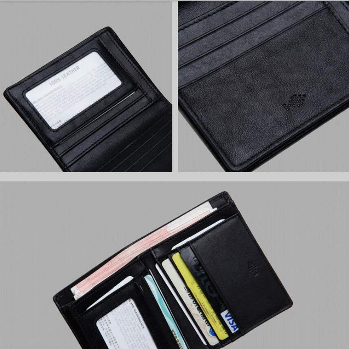 Black Kalmar RFID Travel Wallet for Men Fashion New Vertical Fashion Business Youth Leather Wallet Color cm Stealth Mode Blocking Leather Wallet Size 9.3 2.3 11.5