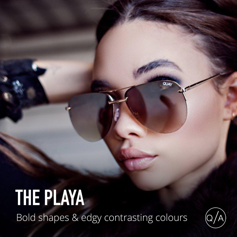 b87c022c81 Amazon.com  Quay Australia THE PLAYA Women s Sunglasses Aviator Frameless  Sunnies - Gold Brown  Quay  Clothing