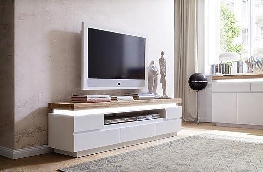 Dreams4Home TV-mueble para Campina II lacada en blanco, con ...