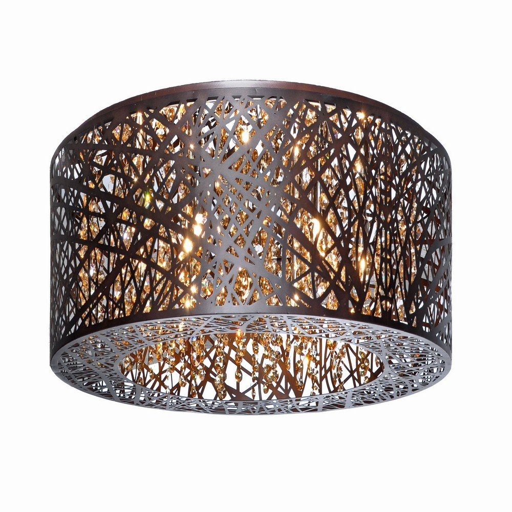 ET2 E21301-10BZ/BUL Inca 9-Light Flush Mount W/LED Bulb Flush Mount, Bronze Finish, Cognac Glass, G9 LED Bulb, 40W Max., Dry Safety Rated, 2900K Color Temp., Low-Voltage Electronic Dimmer, Glass Shade Material, 750 Rated Lumens