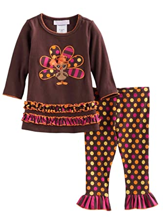 f18f9285195ab Infant & Toddler Girls Brown Turkey Thanksgiving Outfit Shirt & Leggings ...