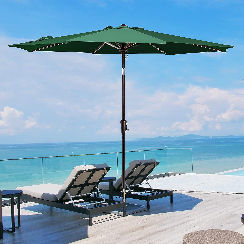 9FT Outdoor Garden Umbrella Patio 8 Ribs Market Garden Crank Tilt Beach Parasol