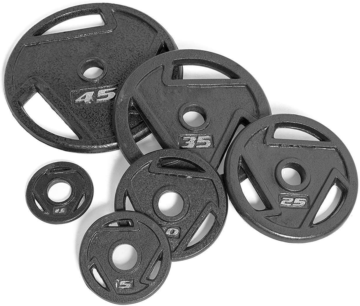 Set of 2 Cast Iron. New CAP Barbell 2 Inch Olympic Grip Plates 5 Pound