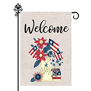 CLKJYF Independence Day Garden Flag, Patriotic Garden Flag 12 x 18 Inch Vertical Double Sided 4th of July Memorial Day American Burlap Flag for House Yard Outdoor Decor (12×18 Inch)