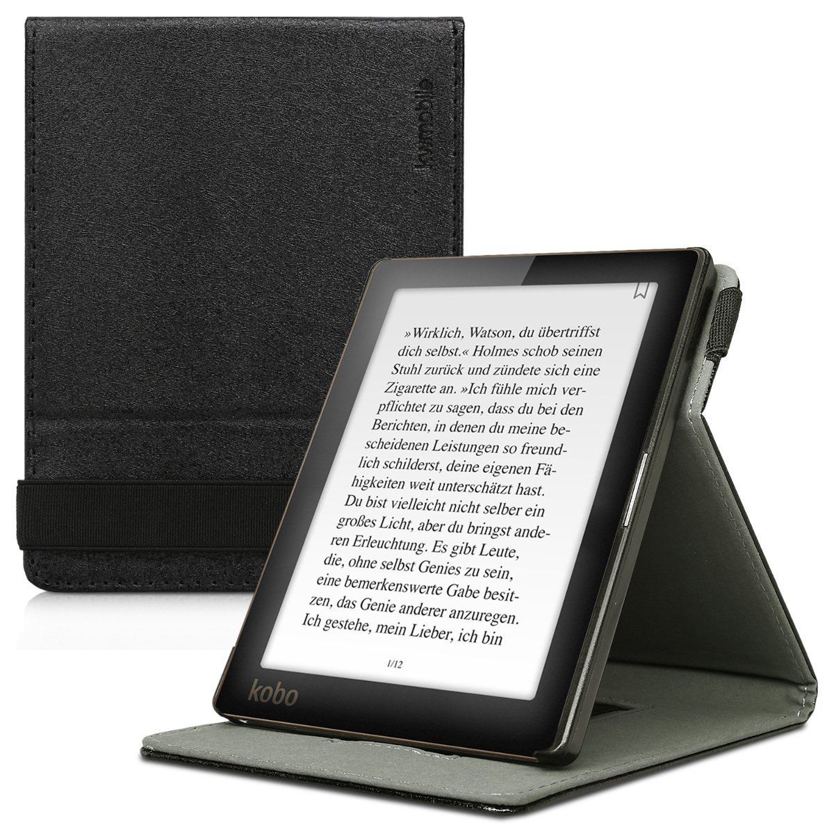 kwmobile Cover for Kobo Aura Edition 1 - Case with Built-In Hand Strap and Stand in black
