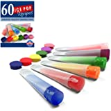 QUALITY SILICONE ICE POP MOLDS THAT MAKE GREAT-TASTING AND HEALTHY SNACKS, Set of 6, Clear Tubes with Color Tops and Perfect Starter 60 Recipes eBook