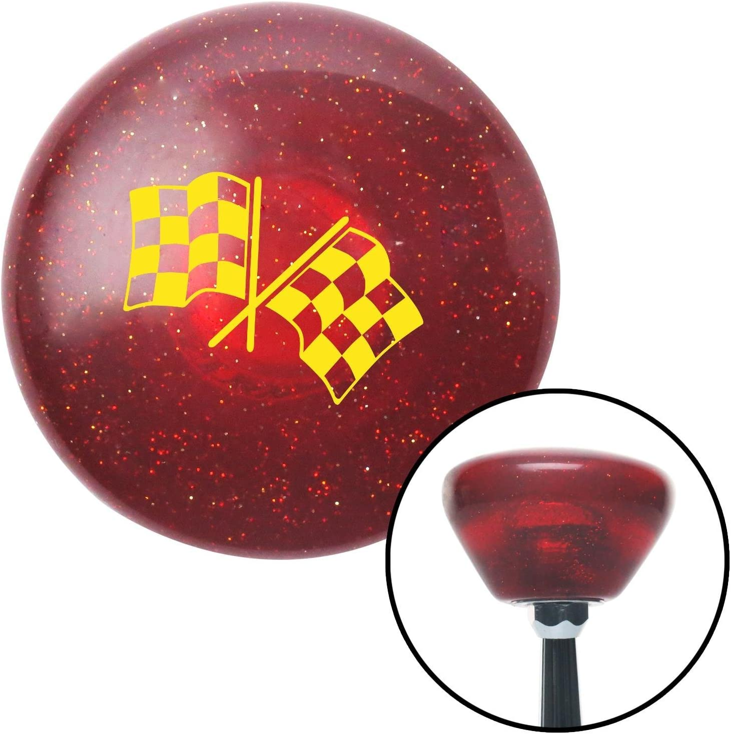 Yellow Checkered Flags American Shifter 195833 Red Retro Metal Flake Shift Knob with M16 x 1.5 Insert