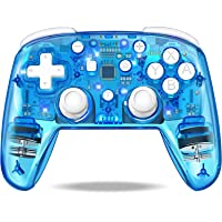 JACKiSS PRO Wireless Pro Controller for Switch Controllers,Pro Controller Support Switch/Switch Lite,Remote Control for Switch Controller Wireless with LED Backlight/Turbo/Vibration-Transparent Blue