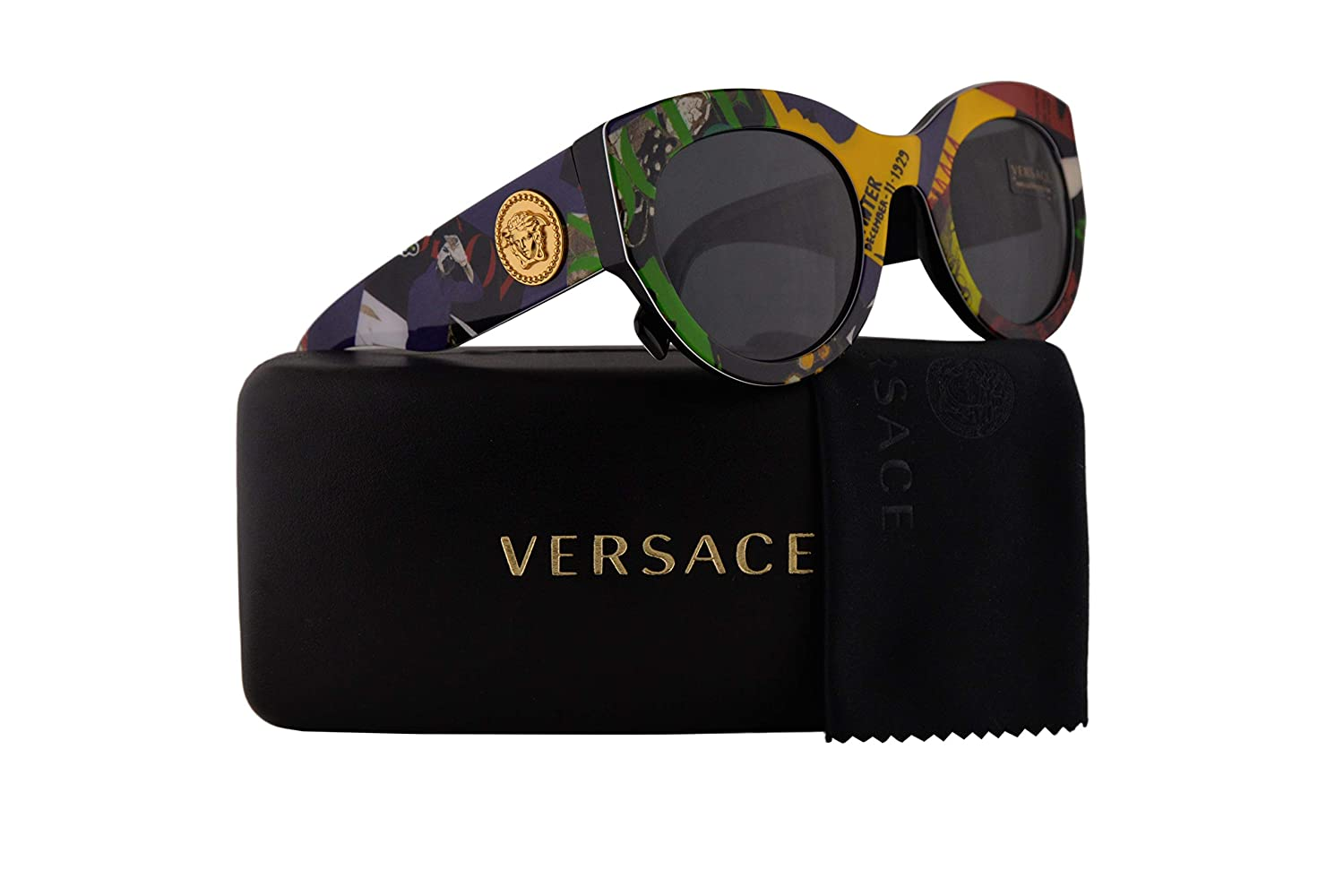 Versace VE4353 Sunglasses Print Vouge Black w/Grey Lens 51mm 528587 VE 4353