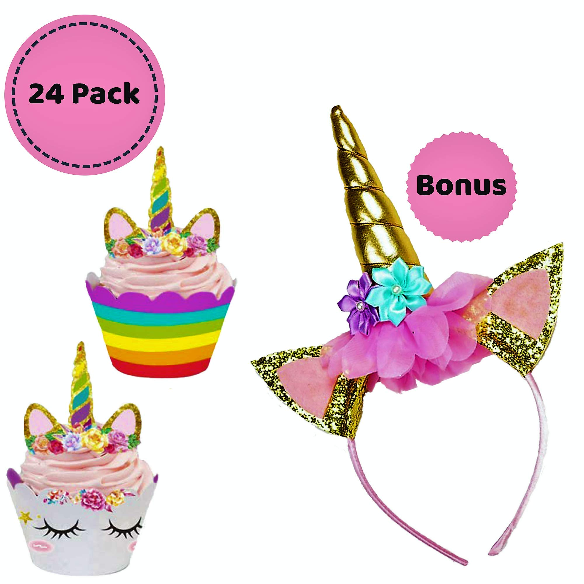 Unicorn Cupcake Topper | Double-Sided Toppers & Wrappers, Ideal Set for Girls Birthday Party | Including a FREE Magical Unicorn Hairband