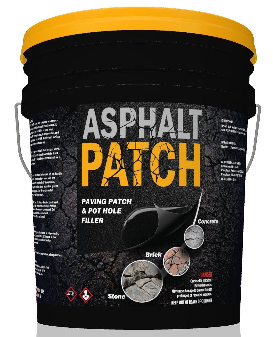 ASPHALT PATCH & POTHOLE FILLER 65 lb Pail | Pothole Repair Kit | Driveway Patch | Paving Patch - 5 Gallon Pail