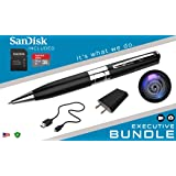 iSmartPen Plus 16GB Silver - Surveillance DVR Pen - 1280p x 960p - Business Executive Portable Educational Professional Documentation Device - Rechargeable Battery - With SanDisk MicroSD Memory