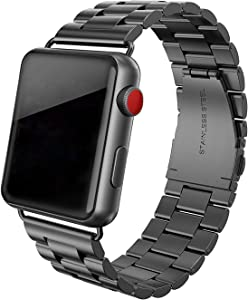 SWEES Stainless Steel Metal Bands Compatible with iWatch 42mm 44mm Series 6, Series 5, Series 4, Series 3, Series 2, Series 1 SE Sports & Edition, Replacement Link Double Button Butterfly Folding Clasp, Black