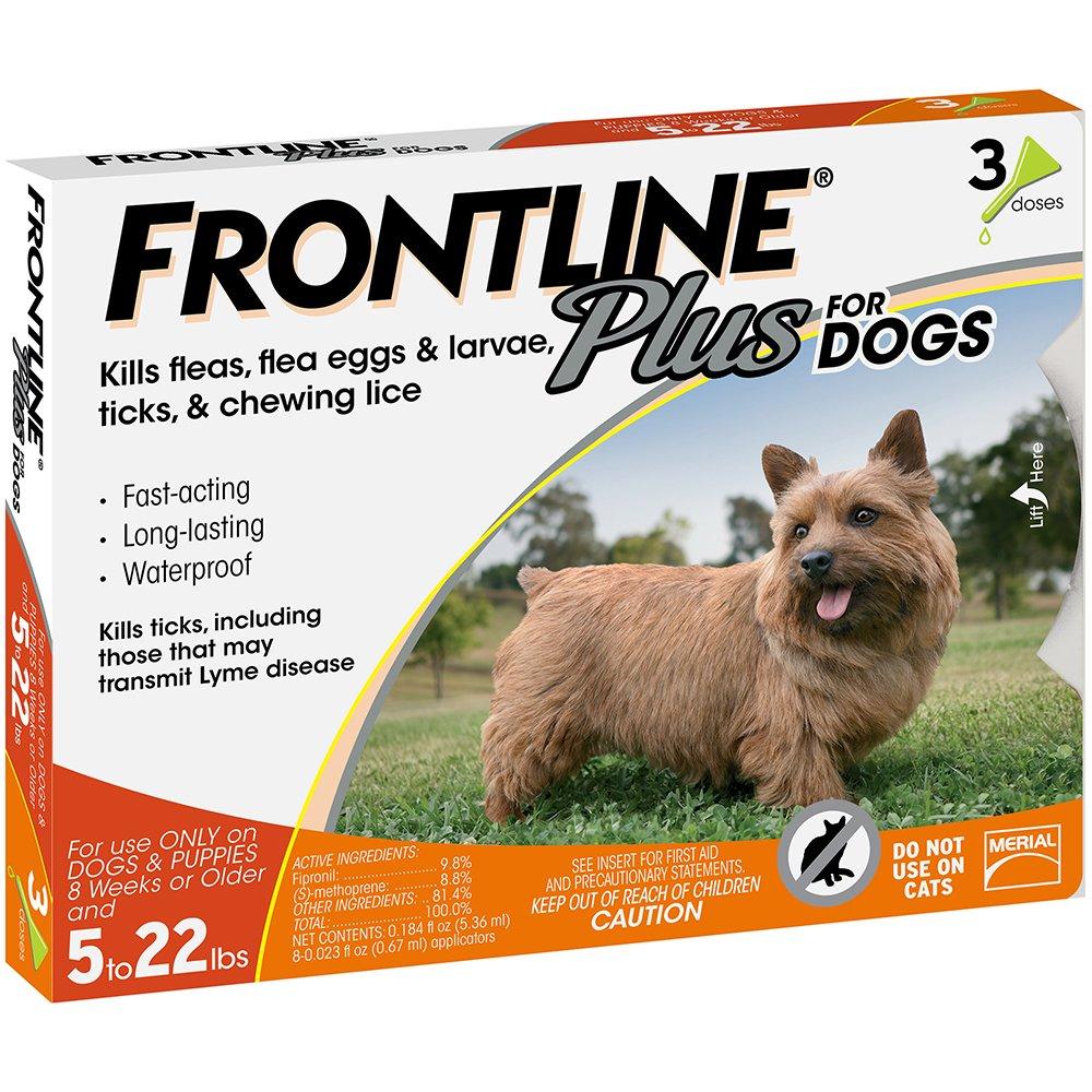 Amazon.com : Frontline Plus for Dogs Small Dog (5-22 pounds) Flea ...