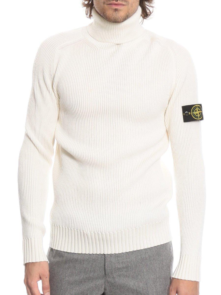 (ストーンアイランド) STONE ISLAND ウール100% リブ 袖ロゴ タートルネック セーター [SI6915535C2]ホワイト/S [並行輸入品] B07FYK9VMG M|ホワイト ホワイト M