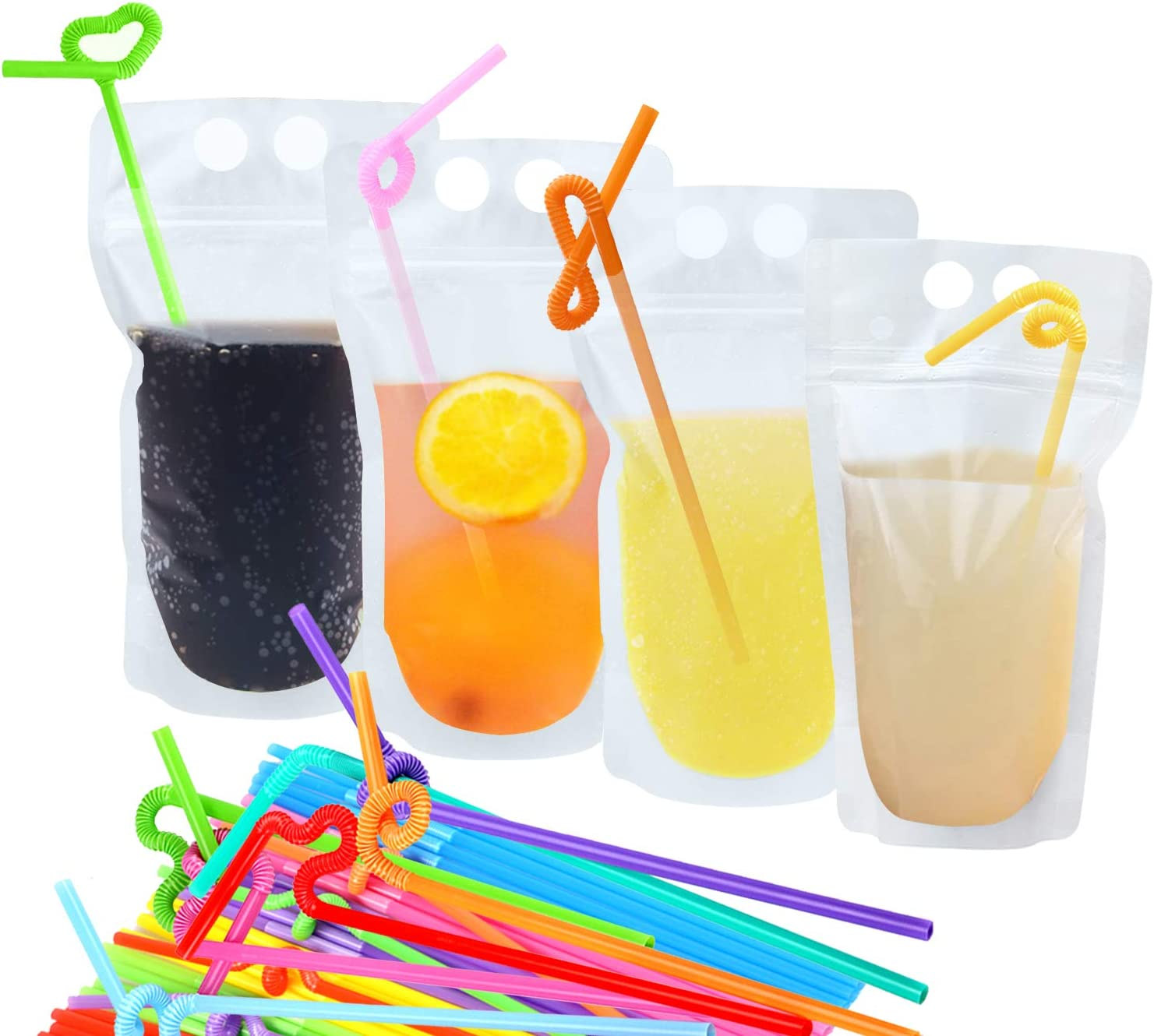 Amurgo 50 Piece Clear Juice Pouches with 100 Straws, Hand-held Reusable Adult Drink Pouches with Straws and Zippers, Drink Bags for Frozen Juice, Coffee, Tea, Hot Milk