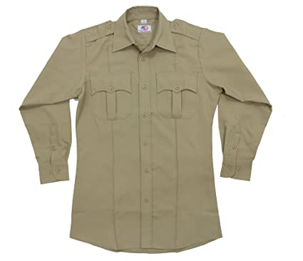 First Class 100% Polyester Long Sleeve Men's Uniform Shirt Tan at ...